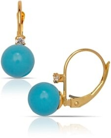 Curata Solid 14K Yellow Created 7mm Gemstone Ball and Cubic Zirconia Stationary Leverback Drop Earrings