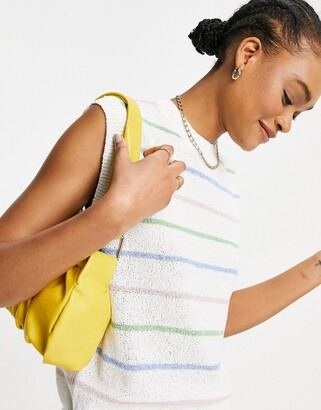 Lost Ink knitted tank in spaced rainbow stripe