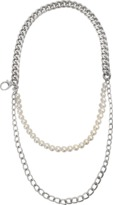 Moschino Three rows chain and pearls necklace