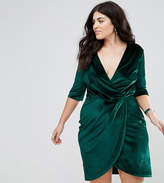 Club L Plus Flute Sleeve Detail Wrap Dress