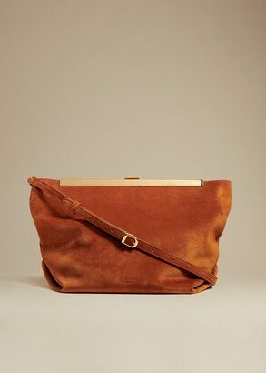 KHAITE The Augusta Crossbody Bag in Cognac Suede