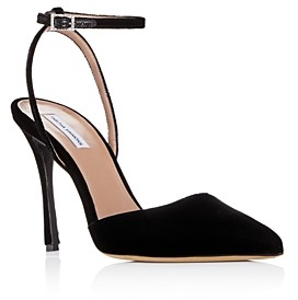 Tabitha Simmons Women's Elvin Pointed Toe Suede Ankle Strap Pumps