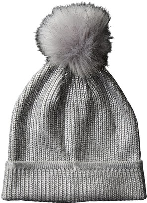 Tickled Pink Accessorie's Winter Soft Cable Knit Shiny Pom Beanie Hat