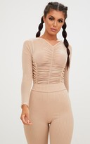 PrettyLittleThing Nude Ruched Front Sheer Mesh Thong Bodysuit