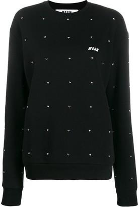 MSGM Embellished Crew Neck Sweatshirt