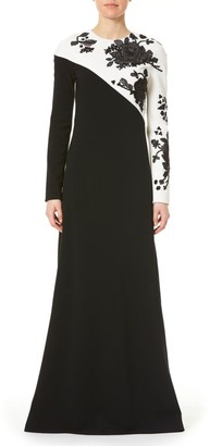 Carolina Herrera Embellished Floral Long-Sleeve Bias Gown