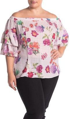 City Chic Spring Bloom Off-the-Shoulder Floral Print Top (Plus Size)