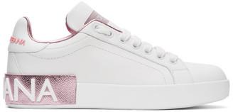Dolce & Gabbana White and Pink Portofino Sneakers