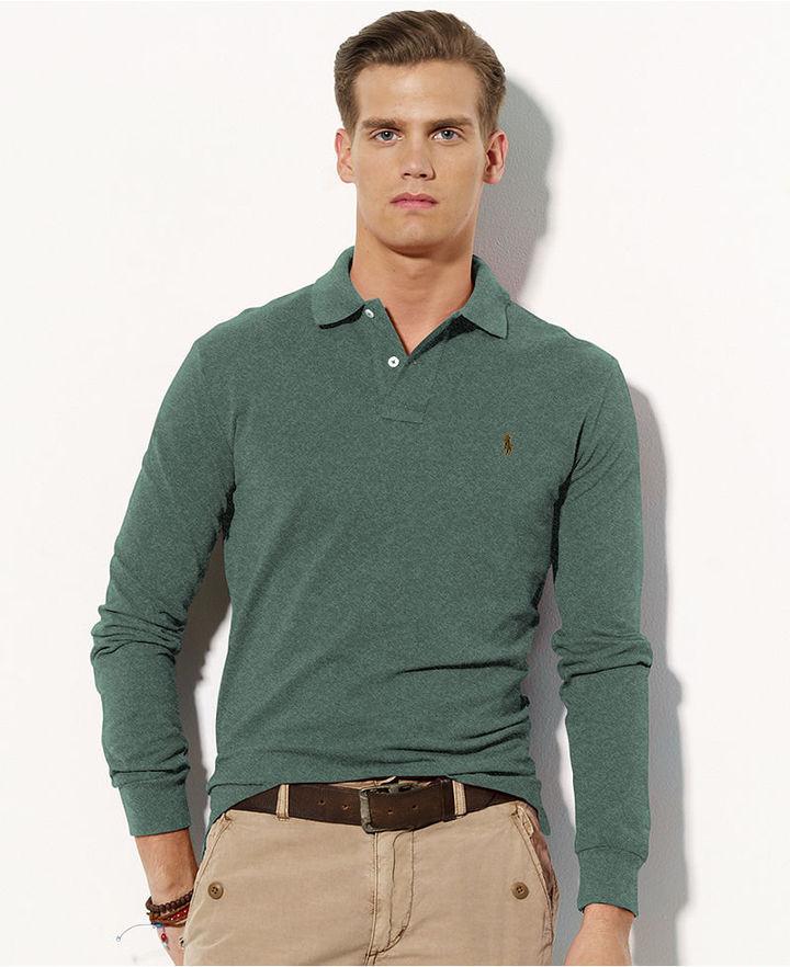 Polo Ralph Lauren Shirt, Classic-Fit Long-Sleeved Cotton Mesh Polo Shirt