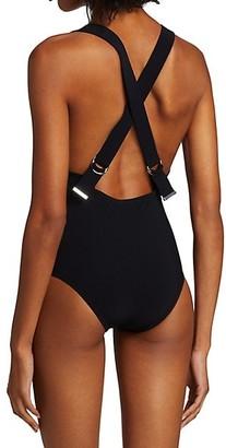Karla Colletto Swim Maren Plunge-Neck One-Piece Swimsuit