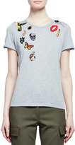 Alexander McQueen Obsession Short-Sleeve Embroidered Tee, Gray