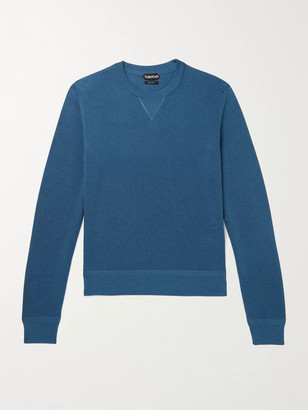 Tom Ford Slim-Fit Cotton-Blend Pique Sweater - Men - Blue