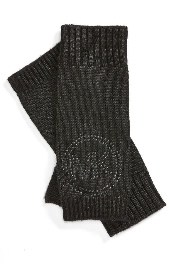 MICHAEL Michael Kors Metallic Knit Logo Arm Warmers