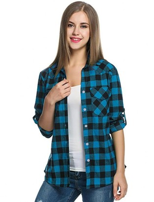 JERFER Womens Tartan Plaid Flannel Shirts Roll up Sleeve Casual Tops Casual Fashion Gray Blue Red Button Down Blouse