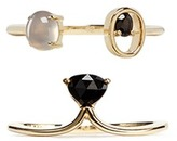 Ruifier Patch' spinel chalcedony 9k yellow gold two ring set