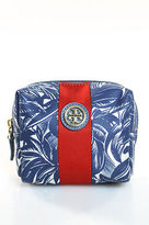 Tory Burch Blue Floral Pouch Handbag Size Small