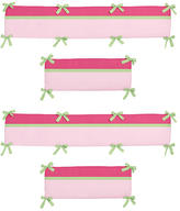 JoJo Designs Sweet Flower Pink and Green Collection Crib Bumper