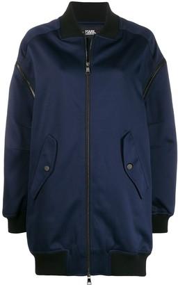 Karl Lagerfeld Paris zip-off longline bomber jacket