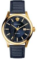 Versace Aiakos Automatic Leather Strap Watch, 44mm