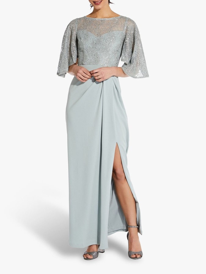 Adrianna Papell Flutter Sleeve Embellished Gown, Frosted Sage