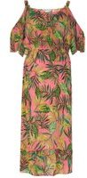 Dorothy Perkins Womens **Maternity Pink Palm Print Cold Shoulder Dress- Pink