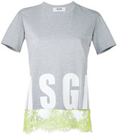 MSGM lace trim T-shirt - women - Cotton - XS