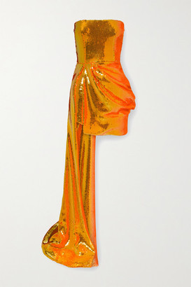 Alex Perry Blaine Draped Sequined Tulle Gown - Bright orange