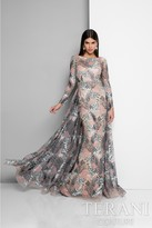 Terani Evening - Long-sleeve Ilusion Open Back Gown 1712E3272