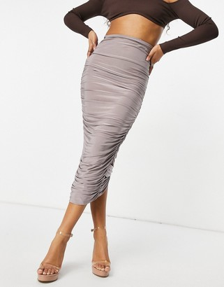 Club L London ruched detail body-conscious maxi skirt in mauve