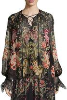 Roberto Cavalli Long-Sleeve Galaxy Garden-Print Blouse, Red/Black