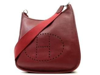Hermes Evelyne Burgundy Leather Handbags