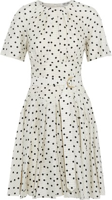 Diane von Furstenberg Ana Pleated Polka-dot Silk Crepe De Chine Dress