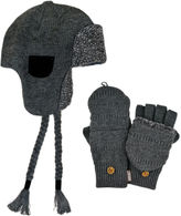 Muk Luks 2-pc. Sherpa-Lined Trapper Hat and Flip Gloves Set