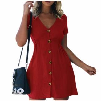 Beakgo Women Summer Casual v-Neck Waist Short-Sleeved Button Front Slit Dress Army Green XL