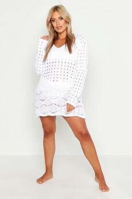 boohoo Plus Crochet Lace Detail Beach Dress