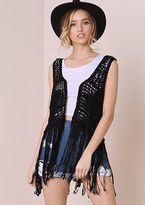 Missy Empire Joni Black Crochet Tassel Hem Waistcoat