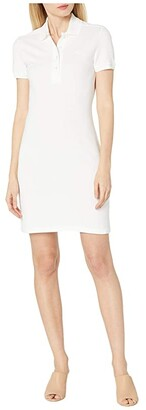 Lacoste Short Sleeve Slim Fit Stretch Pique Polo Dress (White) Women's Dress