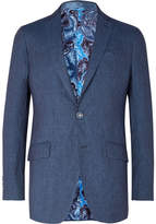 Etro Dark-Blue Slim-Fit Linen Blazer