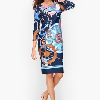 Talbots Status Print Jersey Shift Dress