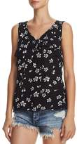 Aqua Ruffled Floral Print Tank - 100% Exclusive