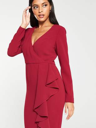 Very Ruffle Detail Pencil Dress - Berry/Purple