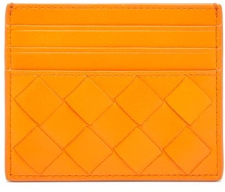 Bottega Veneta Intrecciato Leather Card Holder - Womens - Orange