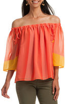 Trina Turk Yamille Three-Quarter-Sleeve Off-The-Shoulder Top