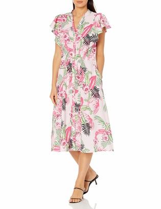 Rafaella Women's Bold Floral Print Flutter Sleeve Dress