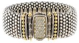 Lagos Two-Tone Diamond Wide Caviar Bracelet