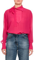 Valentino Tie-Neck Button-Detail Blouse, Pink