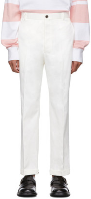 Thom Browne White Twill Chino Trousers