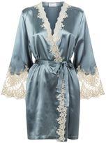 Marjolaine Silk Robe with Lace Trim