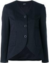 Jil Sander Navy curved hem jacket - women - Cotton/Polyester/Spandex/Elastane/Rayon - 36