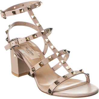 Valentino Rockstud Caged 45 Leather Ankle Strap Sandal